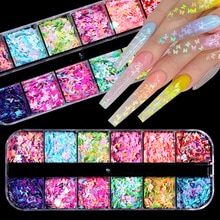 12 grilles colorées papillon ongles paillettes paillettes mélangées poudre feuilles décalques ultra-mince flocons pour acrylique ongles Art décoration