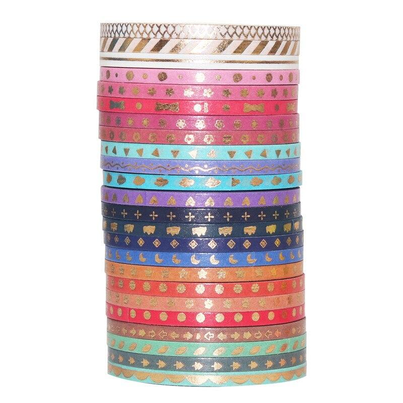 4 juegos/lote cinta de washi de papel de oro 3mm cinta adhesiva para enmascarar de nube con lazo de amor de estrella de flor de color dorado pegatinas F815