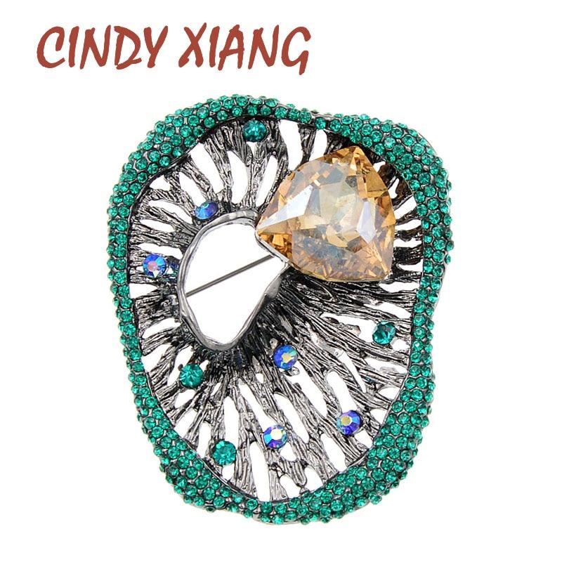 Cindy xiang strass broches geométricos para mulheres vintage moda pino retro broche 2 cores disponíveis oco-para fora jóias presente