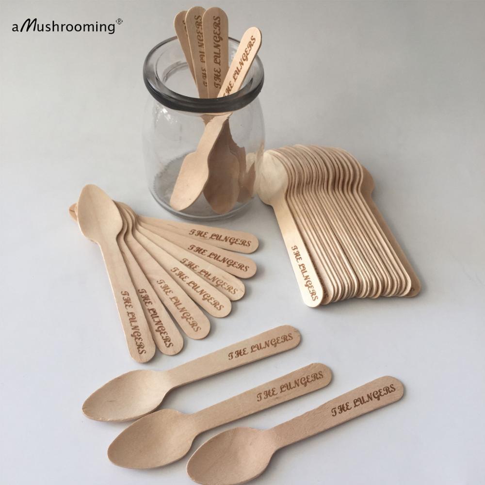 500 مخصص محفورة ملاعق صغيرة للشهية القهوة الآيس كريم ملاعق خشبية القابل للتصرف كما حديقة المنزل أدوات المائدة Cucharas الصغيرة