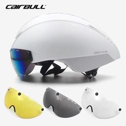 Aero capacete tt triathlon ciclismo capacete com len goggle para homens mulheres de segurança capacete da bicicleta de estrada casco ciclismo capacete de corrida
