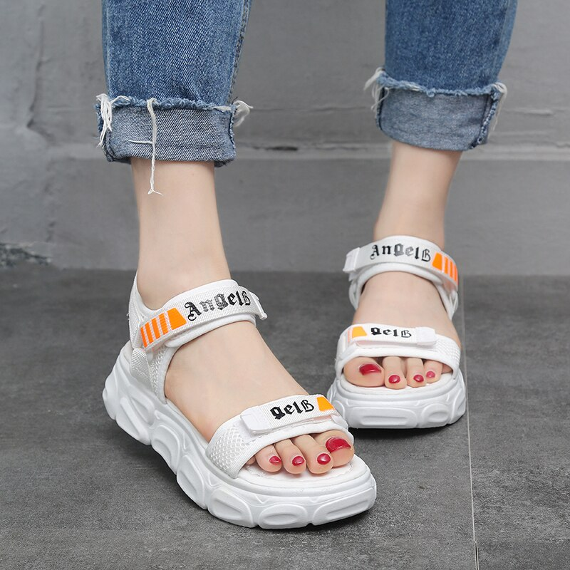 Sandalias de verano para mujer, Sandalias planas blancas y negras con diseño de hebilla, cómodas sandalias con plataformas, zapatos de mujer de suela gruesa para playa, sandalias 2020
