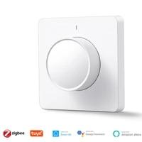 Interrupteur variateur de lumiere rotatif LED  pour maison connectee  avec application Smart Life Tuya  telecommande  fonctionne avec les Assistants vocaux Alexa et Google  EU ZigBee