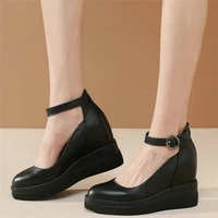 ankle strap mary janes women genuine leather wedges high heel pumps shoes female round toe platform oxfords shoes casual shoes