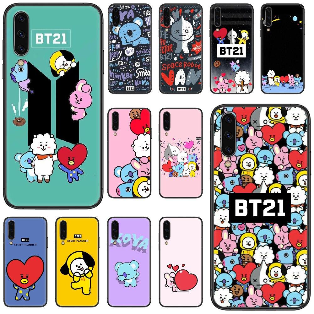De dibujos animados lindo BT21 teléfono caso para Samsung Galaxy A 5 10 20 3 30 40 50 51 7 70 71 E 4 S 4G 16 17 18 shell negro 3D cubierta pintura