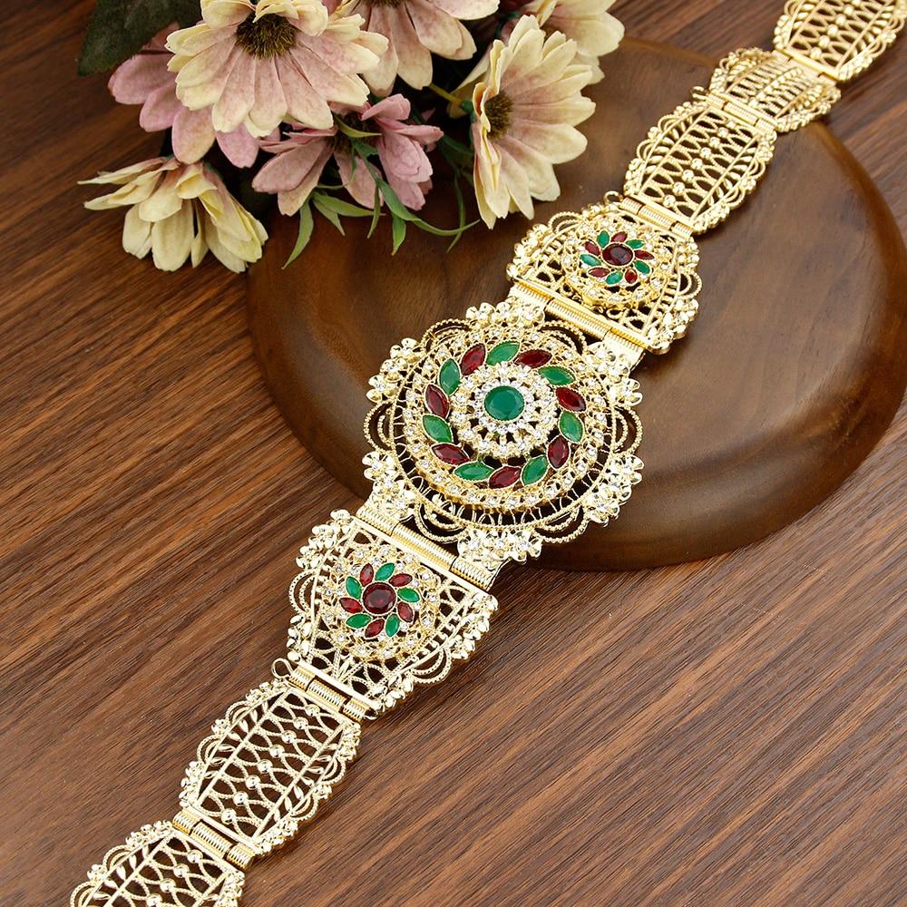 Sunspicems الذهب اللون المغرب حزام للنساء كريستال زهرة الخصر سلسلة تعديل طول الجزائر رداء قفطان حزام هدية الزفاف