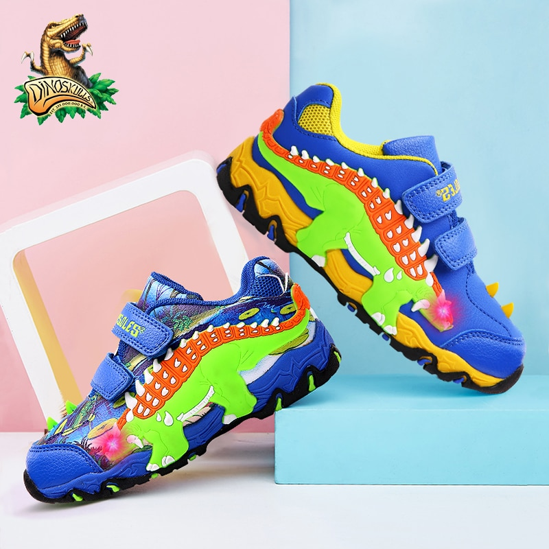 Dinoskulls Dinosaur Children's LED Glowing Sneakers 3-9Y Boys Autumn New Leather Print Velcro Kids Casual Outdoor Sports Shoes