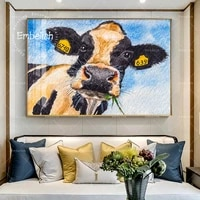 1 pieces aquarelle animaux vache sur bleu ciel moderne decor a la maison mode mur photos pour salon affiches HD toile peintures