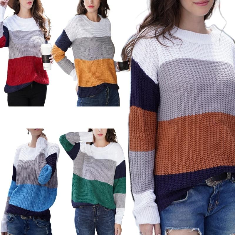 Women Crew Neck Long Sleeve Sweater Color Block Crochet Knitted Loose Jumper Top enlarge
