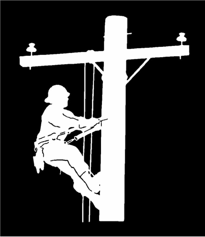 Vinil decalque lineman elétrico pólo alpinista janela janela adesivo jew176