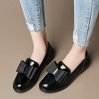 womens thick heel loafers womens flat bottom english small leather shoes trend soft leather work shoes peas single shoes women