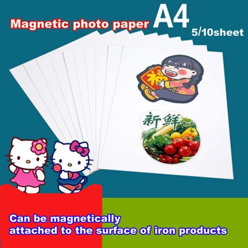5/10 Магнитная глянцевая фотобумага для струйной печати, магнитная фотобумага A4 4R, фотобумага для печати, бумажная наклейка для творчества, н...