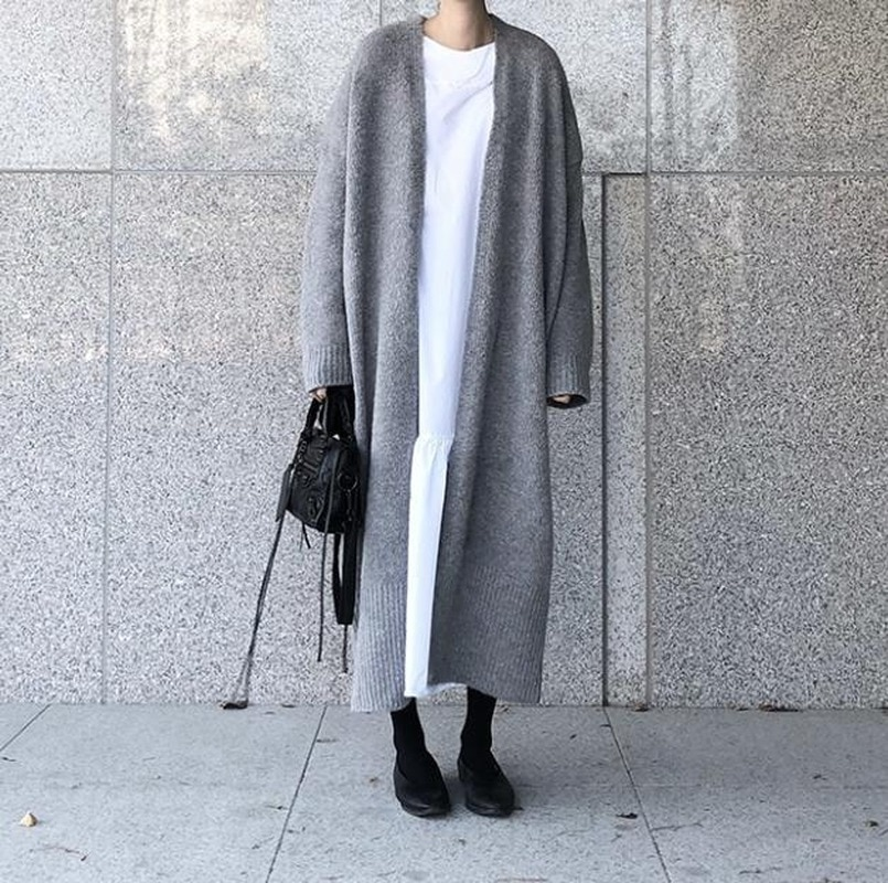 Winter Sweater Women's Super Long Loose Cardigan Long-sleeved Long Tops Autumn Women's Elegant Knitted Jacket Sweater enlarge