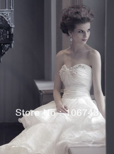 Frete grátis 2014 novo estilo venda quente sexy noiva querida princesa tamanho feito sob medida pérolas vestido de baile branco vestidos de dama de honra