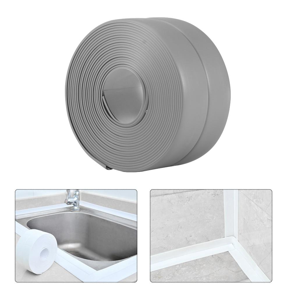 Cinta de sellado para baño, ducha, fregadero, baño, cinta de sellado, Blanco PVC, autoadhesivo impermeable para pared de baño, cocina