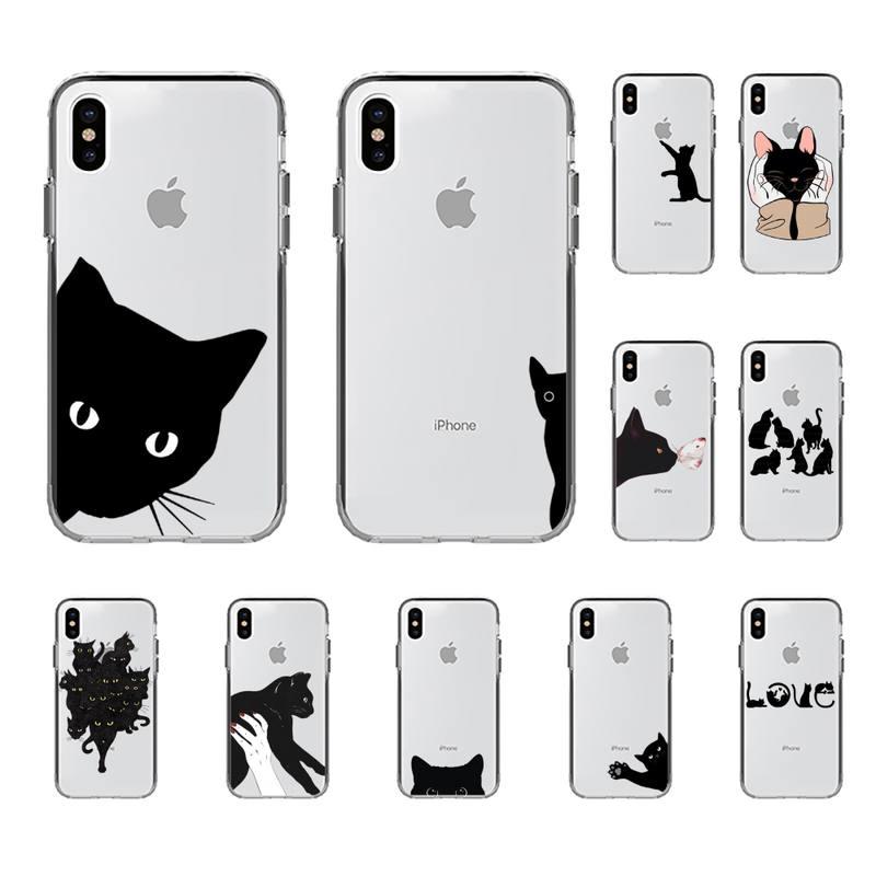Милый черный чехол YNDFCNB с котом для телефона iPhone 8 7 6 6S Plus X 5S SE 2020 XR 11 12 mini pro XS MAX