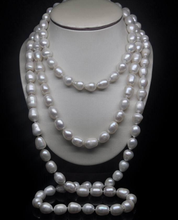 Caliente AAA 9-11MM NATURAL Mar del Sur collar de perlas blancas 48 pulgadas AAAAAAAAA envío gratis