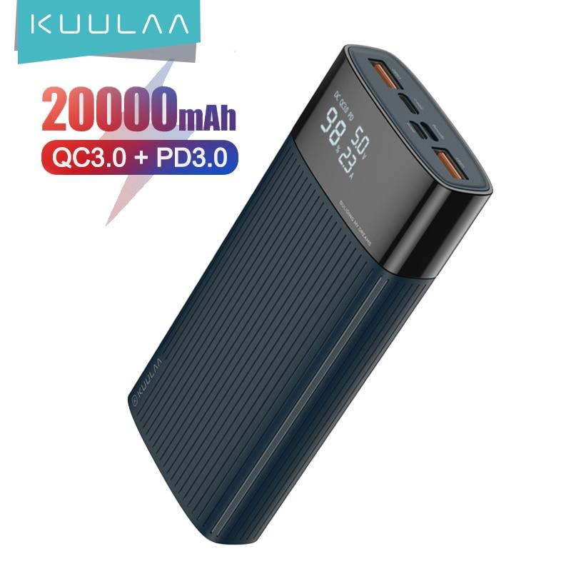KUULAA-باور بانك سريع الشحن 20000 مللي أمبير ، بطارية خارجية 3.0 مللي أمبير ، QC PD 20000 ، شاحن USB لـ Xiaomi Mi