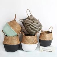 storage baskets laundry seagrass baskets wicker rattan hanging flower pot toy home pot panier osier rangement cestas mimbre bohe