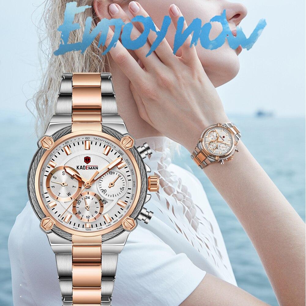 KADEMAN-ساعات نسائية فاخرة ، تصميم كلاسيكي ، حزام فولاذي ، تاريخ ، كوارتز ، ساعة يد نسائية