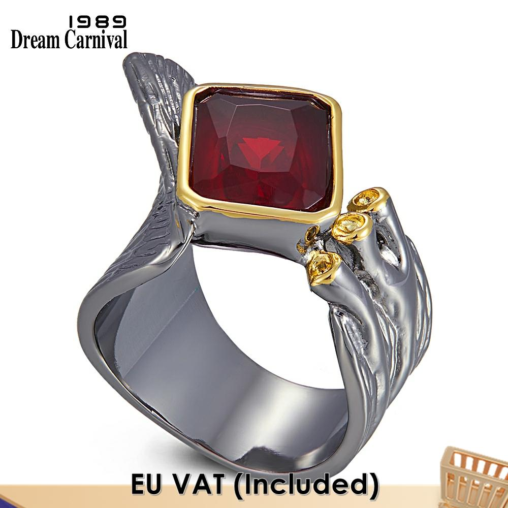 Dreamcarnival-خاتم نسائي قوطي من الزركونيا ، حلقة مفتوحة من الأعلى ، زركونيا ، أحمر ، شخصية ، WA11779