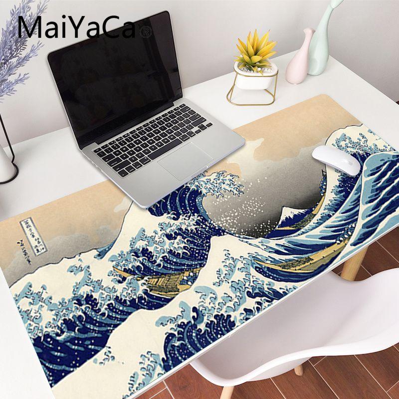 Grande onda fora da arte grande tamanho mouse pad computador japonês monte fuji koi arte gaming mousepad mesa esteira de bloqueio borda para cs go lol