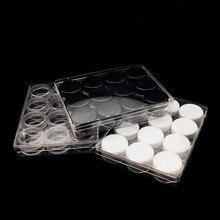 12 pièces/1 paquet clair 5g en plastique crème pot cosmétique ombre à paupières rouge à lèvres bouteille soins de la peau échantillon remplissage conteneur avec boîte de rangement