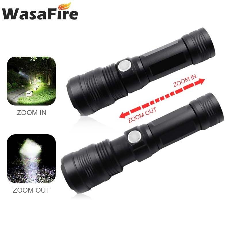 8000LM P50 linterna Led impermeable linterna de autodefensa portátil recargable 5 modos linterna Zoomable lámpara con 18650/26650