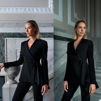 elegant lace up women blazer slim fit custom made jacket sexy v neck business party prom streetwear fashion suits