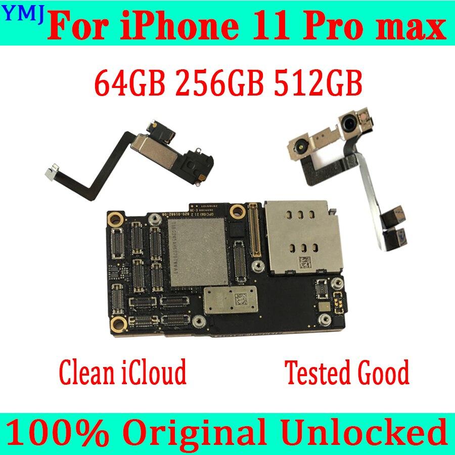 Probada buena para iPhone 11 Pro Max Original desbloqueado placa base 6,5 pulgadas con/sin cara ID placa lógica libre iCloud funcionamiento completo