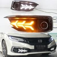 car led daytime running lights for honda civic sedan 2019 2020 dynamic yellow turn signal auto drl daylights lamps