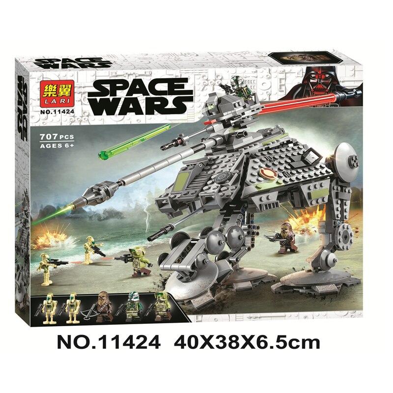 New 707pcs StarWars AT-AP Walker Model Building Blocks Lepining Star Wars Kashyyyk Droid Clone Commander 11424 Toys For Children