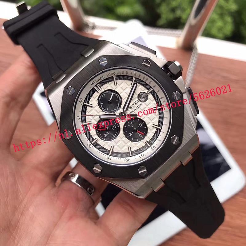 Reloj de pulsera mecánico automático de acero inoxidable con cristal de zafiro luminoso de edición limitada para hombre de 44mm