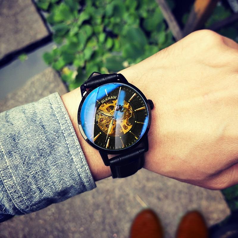 GLENAW Mechanical Watches Men Automatic Watch Top Brand Luxury Wrist Watch 30m Waterproof Date Clock