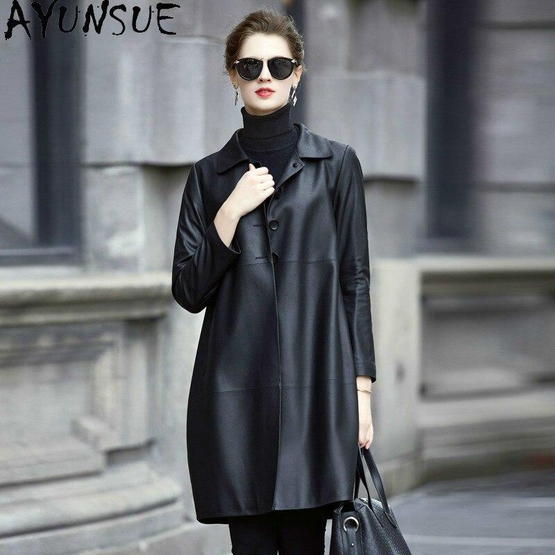 AYUNAUE-سترة جلدية أصلية للنساء ، ملابس طويلة من جلد الغنم ، سترة واقية من الجلد الطبيعي ، Leren Jas Dames 2020 2967 4416