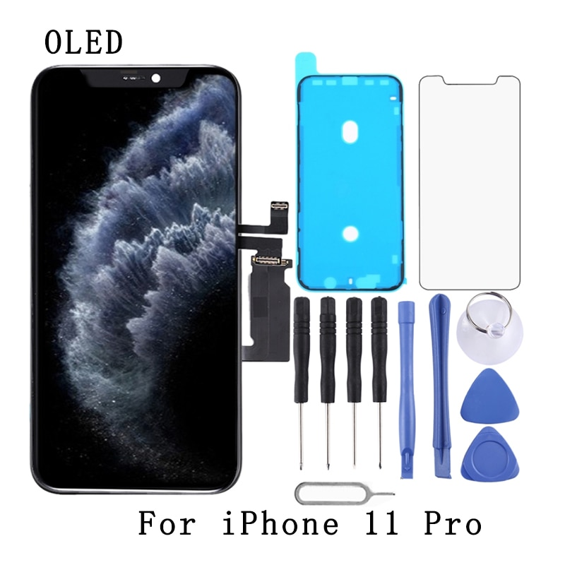 Get OLED Material LCD Screen and Digitizer Full Assembly with Frame For iPhone 11 Pro, For iPhone 11 Pro Max