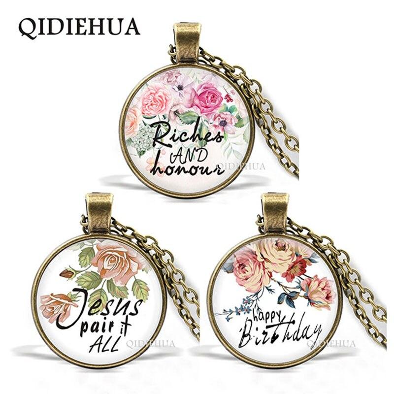 Moda Biblia versos collar cúpula de cristal colgante collares planta flor collar arte carta fe inspirador regalos Unisex