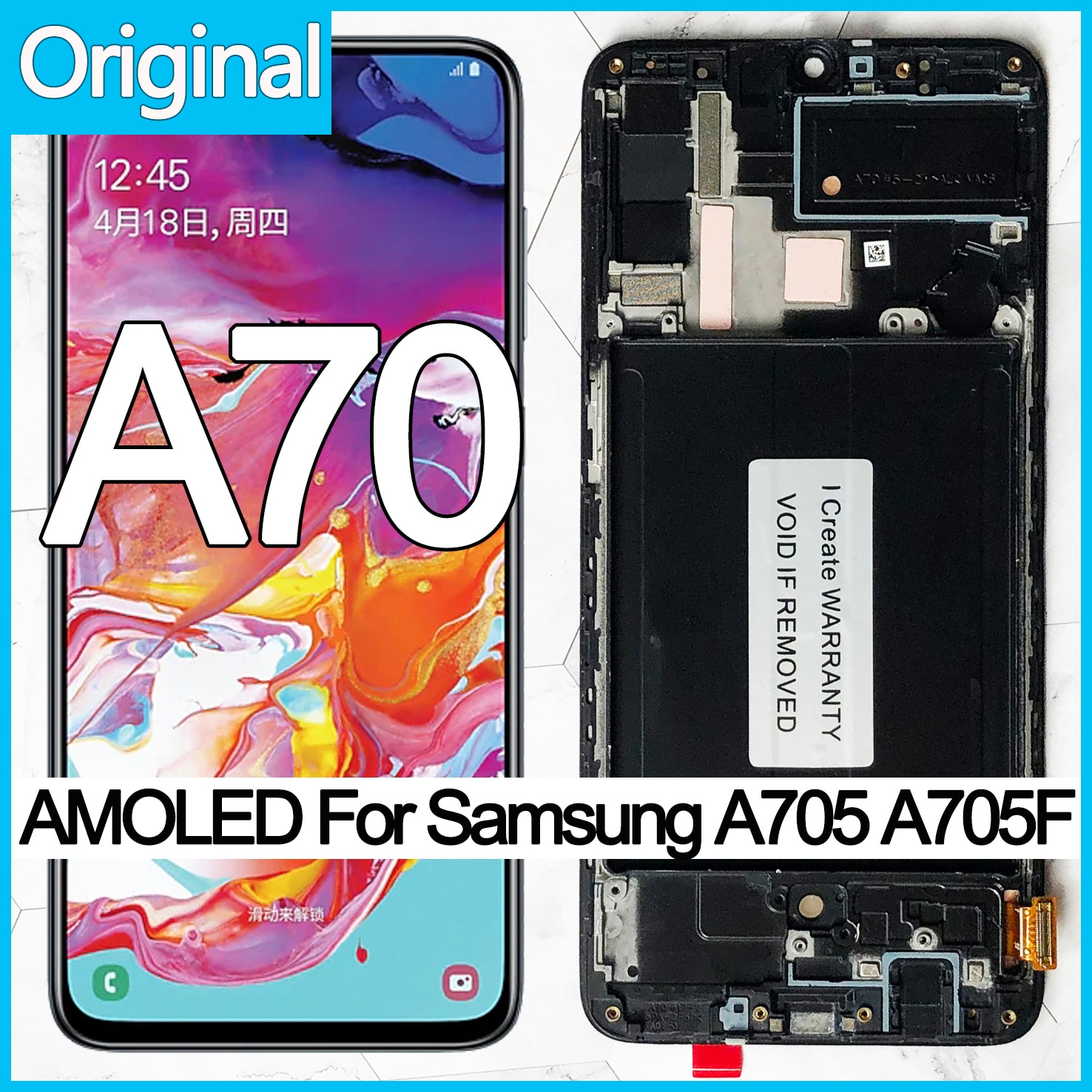 الأصلي 6.7 ''سوبر AMOLED LCD عرض لسامسونج غالاكسي A70 LCD A705 A705F SM-A705MN شاشة تعمل باللمس محول الأرقام الجمعية