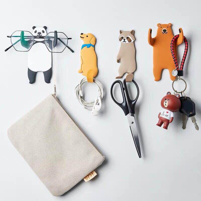 Ganchos multiusos para animales bonitos, gancho de cocina para nevera, accesorios de decoración para el hogar, soporte para llaves, gancho de pared para colgar en la pared