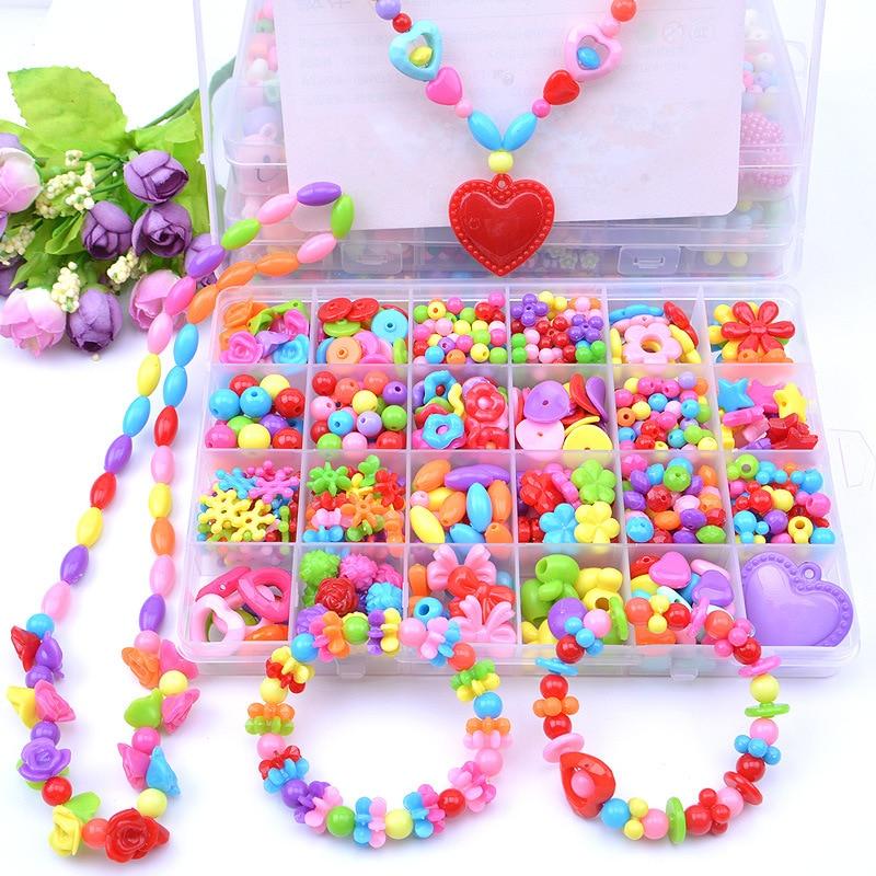 Creative Kids Craft Handmade DIY Beaded Toys For Children Girl Gift Wear Hama Beads 24 Grid Handicraft Jewelry Making Toys