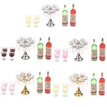 1 ensemble Miniature maison de poupée comptoir de Bar Mini bouteille de vin Champagne support en verre support jouer meubles de cuisine