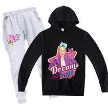 Fashion Clothing Set Girls JOJO Siwa Printing Hooded Sweatshirt Pants 2pcs Sets Kids Autumn New Long Sleeve Hoodie Suits Clothes