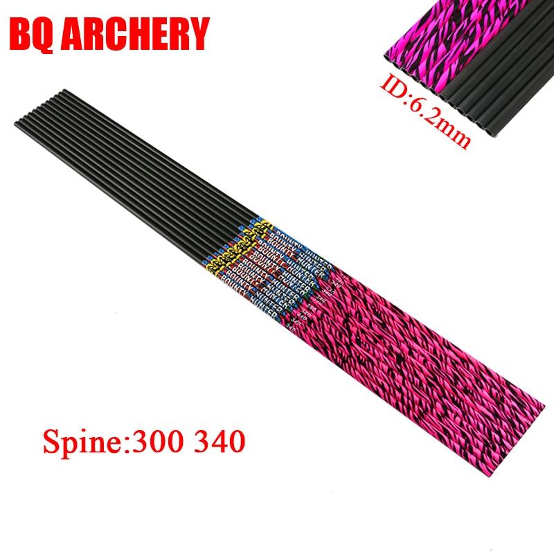 6 pçs linkboy setas de carbono puro rosa seta eixo id6.2mm seta palhetas 75gr dicas para arco composto caça tiro