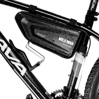 wild man hard shell triangle cycling bag rainproof mtb road bike 1 5l large capatity front beam frame bags bicycle accessories