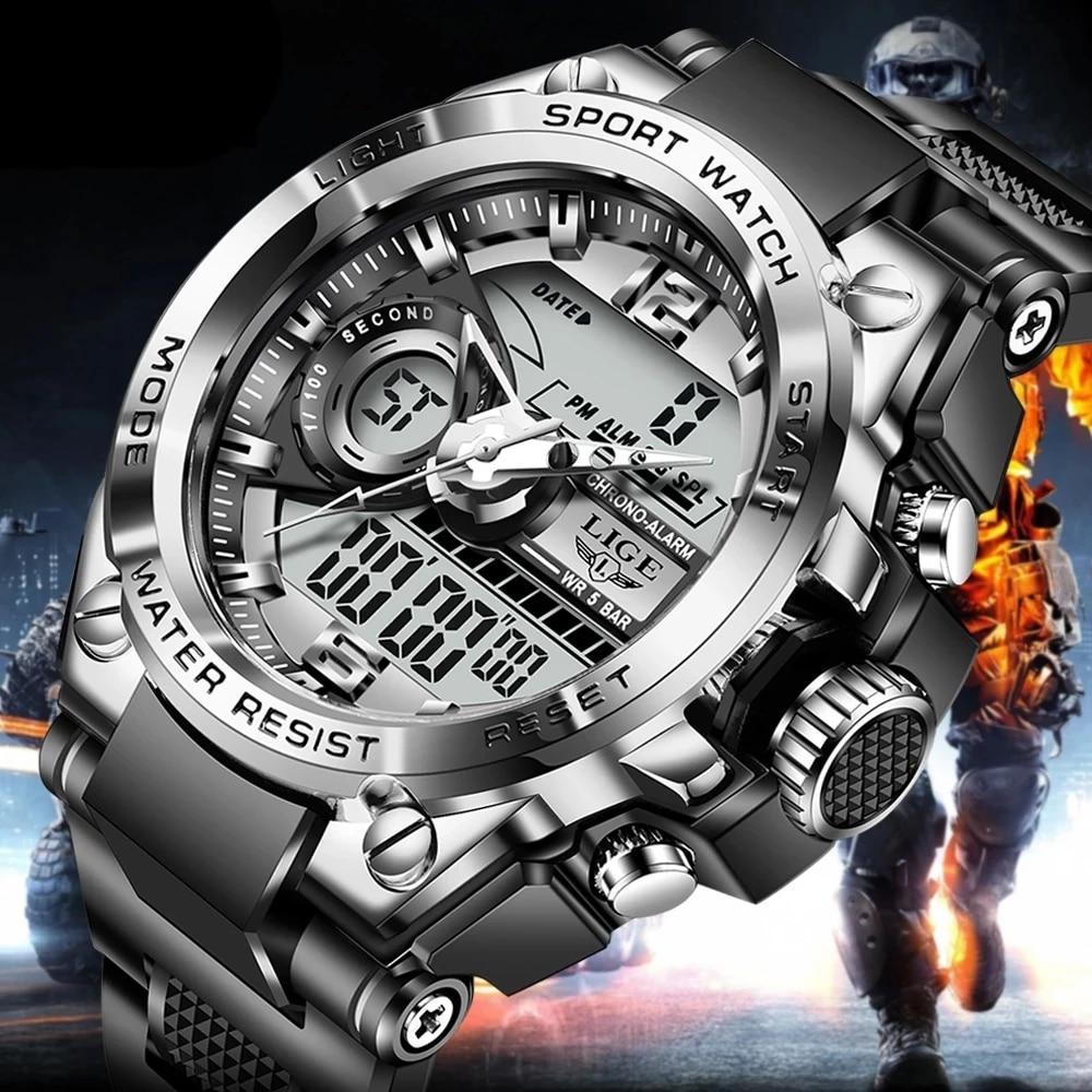LIGE Digital Men Military Watch 50m Waterproof Wristwatch LED Quartz Clock Sport Watch Male Big Watches Men Relogios Masculino