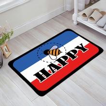 Bee Happy Blue White Red Stripe Printed Doormats Customized Anti-slip Carpet Rug Bathroom Entrance Outdoor Floor Mat Home Decor