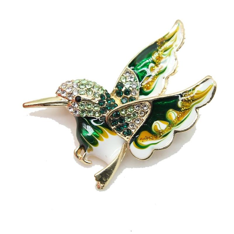 Elegante pino feminino broche de strass presentes dos desenhos animados beija-flor acessórios acessórios para o corpo jóias