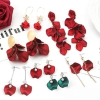 925 silver needle fashion exaggerated retro earrings female japanese and korean personality long red rose petal tassel earrings