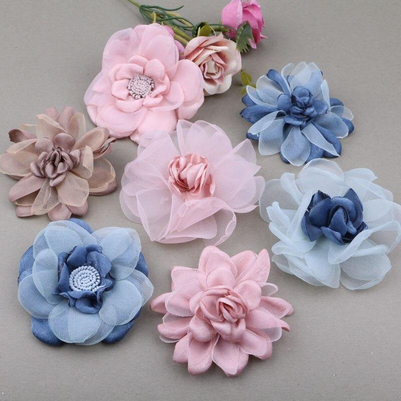 Material de jóias artesanais acessórios broche de flor organza gaze sapatos sapatos flor princesa tiara diy acessórios decorativos 2pcs