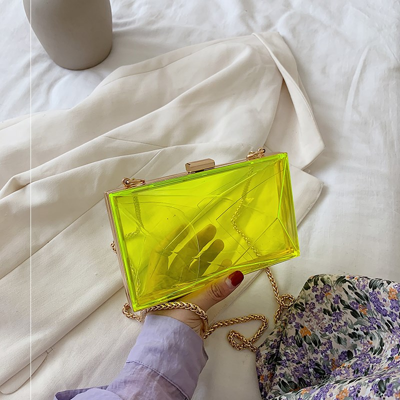 نساء شفاف واضح سلسلة جيلي حقائب نيون أخضر برتقالي فام صندوق أكرليك مخلب عالية الجودة مساء الزفاف حقيبة كتف